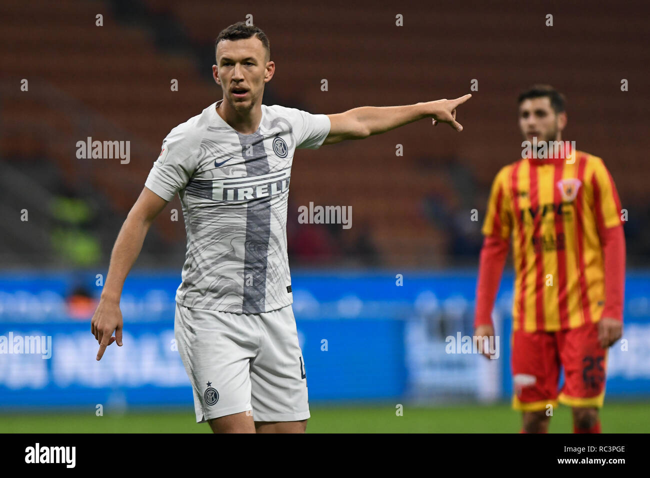 Milan, Italy. 13th Jan 2019. Midfielder Ivan Perisic (Inter) gestures during the Italian Cup 'Coppa Italia' football match, Inter Milan vs Benevento Calcio at San Siro Meazza Stadium in Milan, Italy on 13 January 2019. The football match is played behind closed doors after Napoli's Senegalese player Kalidou Koulibaly was subject to racist chants by FC Internazionale's 'ultra' fans during the Boxing Day match. Credit: Piero Cruciatti/Alamy Live News - Stock Image