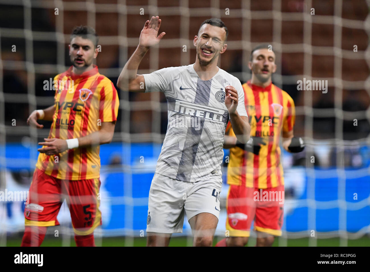 Milan, Italy. 13th Jan 2019. Midfielder Ivan Perisic (Inter) gestures after failing to score during the Italian Cup 'Coppa Italia' football match, Inter Milan vs Benevento Calcio at San Siro Meazza Stadium in Milan, Italy on 13 January 2019. The football match is played behind closed doors after Napoli's Senegalese player Kalidou Koulibaly was subject to racist chants by FC Internazionale's 'ultra' fans during the Boxing Day match. Credit: Piero Cruciatti/Alamy Live News - Stock Image
