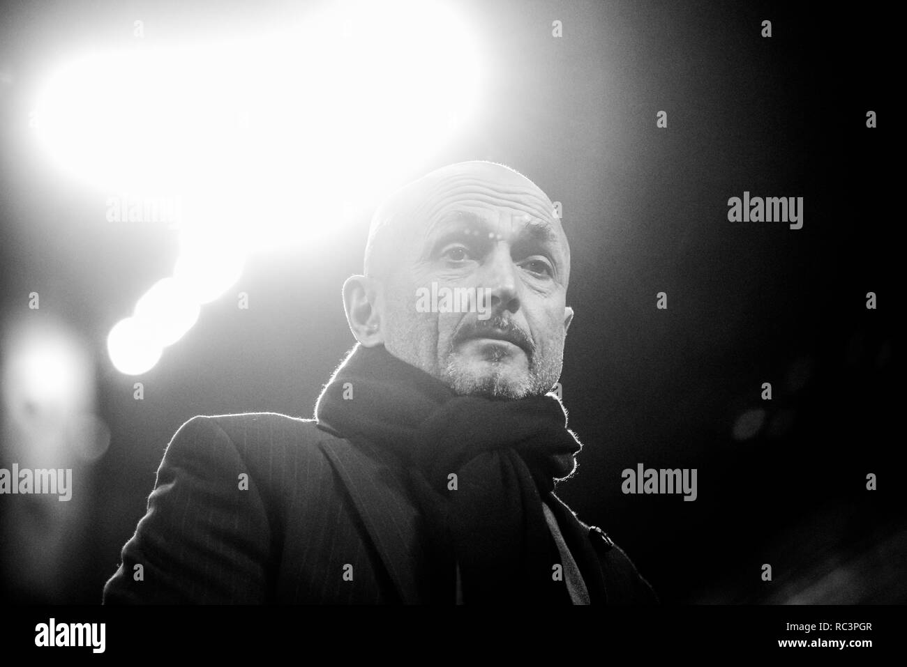 Black and White image of Team manager Luciano Spalletti (Inter) looking on during the Italian Cup 'Coppa Italia' football match, Inter Milan vs Benevento Calcio at San Siro Meazza Stadium in Milan, Italy on 13 January 2019. The football match is played behind closed doors after Napoli's Senegalese player Kalidou Koulibaly was subject to racist chants by FC Internazionale's 'ultra' fans during the Boxing Day match. Credit: Piero Cruciatti/Alamy Live News - Stock Image