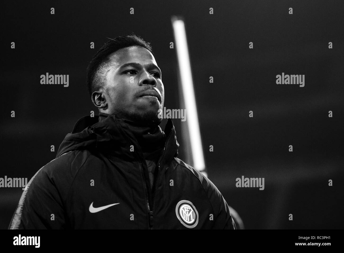 Black and White image of forward Keita Balde (Inter) prior to the Italian Cup 'Coppa Italia' football match, Inter Milan vs Benevento Calcio at San Siro Meazza Stadium in Milan, Italy on 13 January 2019. The football match is played behind closed doors after Napoli's Senegalese player Kalidou Koulibaly was subject to racist chants by FC Internazionale's 'ultra' fans during the Boxing Day match. Credit: Piero Cruciatti/Alamy Live News - Stock Image