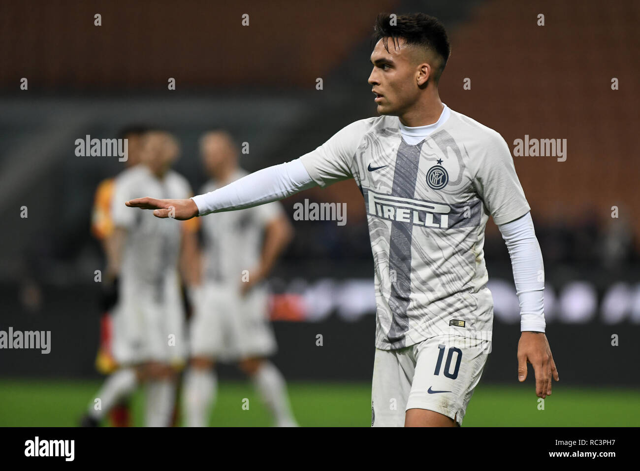 Milan, Italy. 13th Jan 2019. Forward Lautaro Martínez (Inter) gestures during the Italian Cup 'Coppa Italia' football match, Inter Milan vs Benevento Calcio at San Siro Meazza Stadium in Milan, Italy on 13 January 2019. The football match is played behind closed doors after Napoli's Senegalese player Kalidou Koulibaly was subject to racist chants by FC Internazionale's 'ultra' fans during the Boxing Day match. Credit: Piero Cruciatti/Alamy Live News - Stock Image