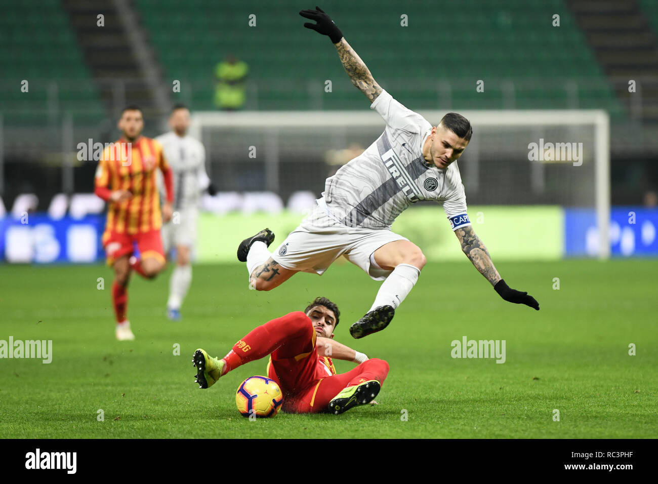 Milan, Italy. 13th Jan 2019. Forward Mauro Icardi (Inter) during the Italian Cup 'Coppa Italia' football match, Inter Milan vs Benevento Calcio at San Siro Meazza Stadium in Milan, Italy on 13 January 2019. The football match is played behind closed doors after Napoli's Senegalese player Kalidou Koulibaly was subject to racist chants by FC Internazionale's 'ultra' fans during the Boxing Day match. Credit: Piero Cruciatti/Alamy Live News - Stock Image