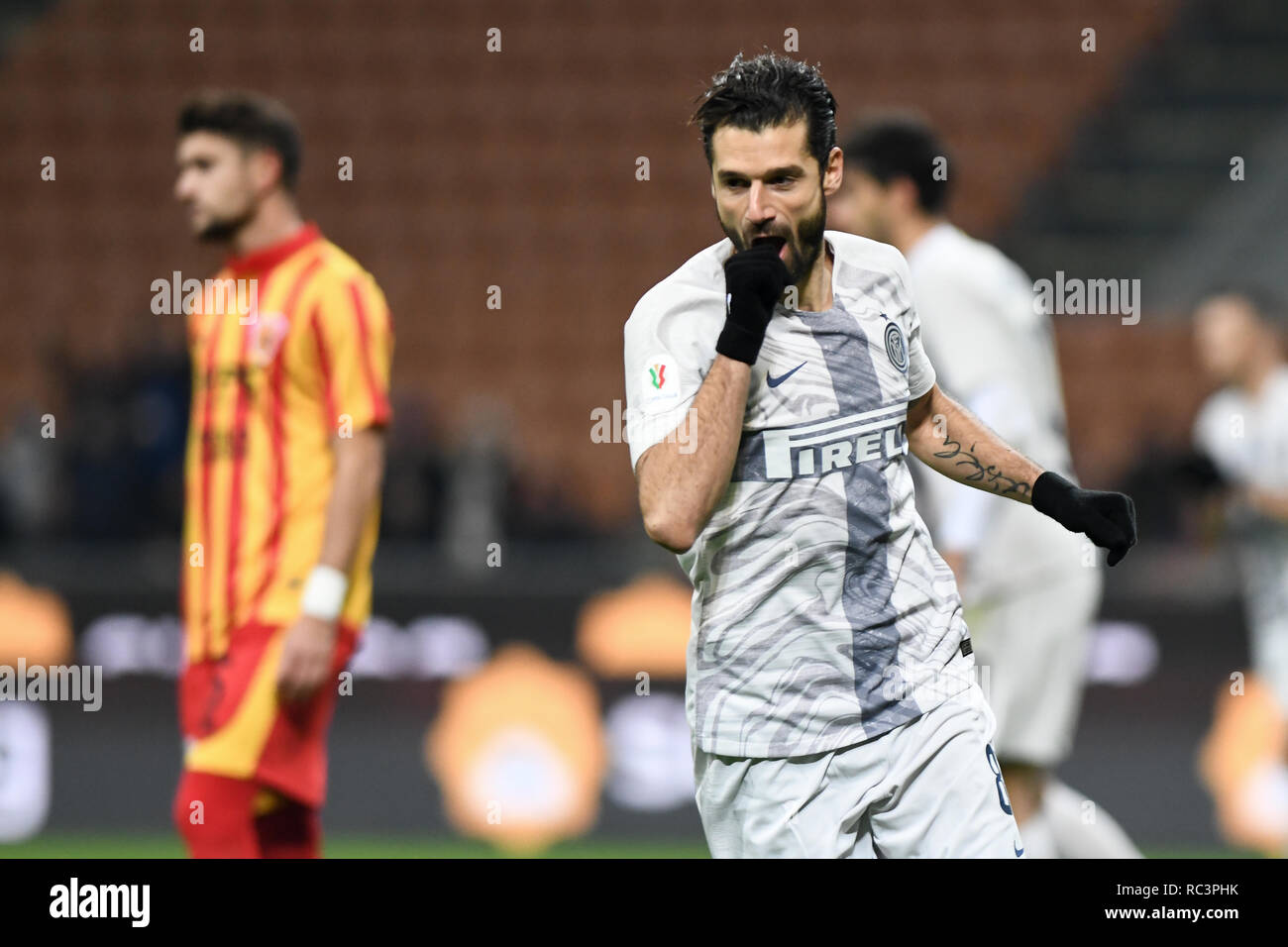 Milan, Italy. 13th Jan 2019. Midfielder Antonio Candreva (Inter) celebrates after scoring during the Italian Cup 'Coppa Italia' football match, Inter Milan vs Benevento Calcio at San Siro Meazza Stadium in Milan, Italy on 13 January 2019. The football match is played behind closed doors after Napoli's Senegalese player Kalidou Koulibaly was subject to racist chants by FC Internazionale's 'ultra' fans during the Boxing Day match. Credit: Piero Cruciatti/Alamy Live News - Stock Image