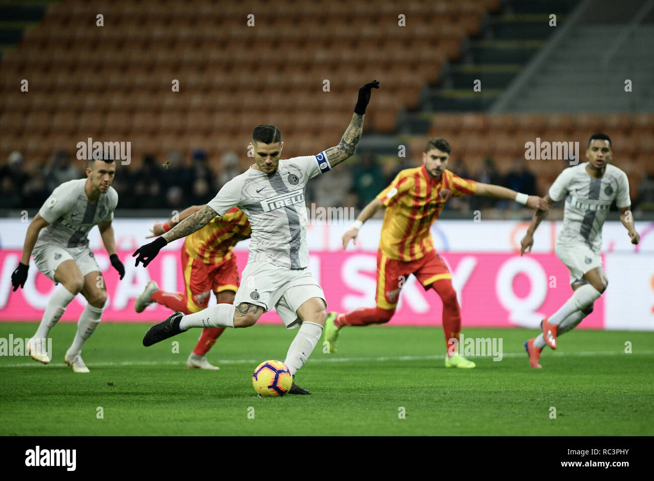 Milan, Italy. 13th Jan 2019. Forward Mauro Icardi (Inter) scores a penalty during the Italian Cup 'Coppa Italia' football match, Inter Milan vs Benevento Calcio at San Siro Meazza Stadium in Milan, Italy on 13 January 2019. The football match is played behind closed doors after Napoli's Senegalese player Kalidou Koulibaly was subject to racist chants by FC Internazionale's 'ultra' fans during the Boxing Day match. Credit: Piero Cruciatti/Alamy Live News - Stock Image
