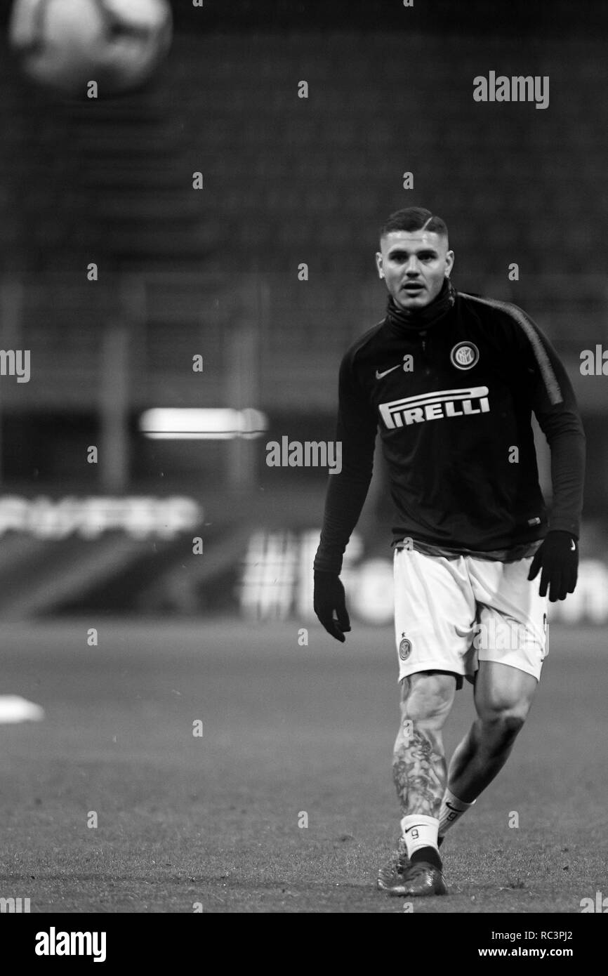 Black and White image of Forward Mauro Icardi (Inter) prior to the Italian Cup 'Coppa Italia' football match, Inter Milan vs Benevento Calcio at San Siro Meazza Stadium in Milan, Italy on 13 January 2019. The football match is played behind closed doors after Napoli's Senegalese player Kalidou Koulibaly was subject to racist chants by FC Internazionale's 'ultra' fans during the Boxing Day match. Credit: Piero Cruciatti/Alamy Live News - Stock Image