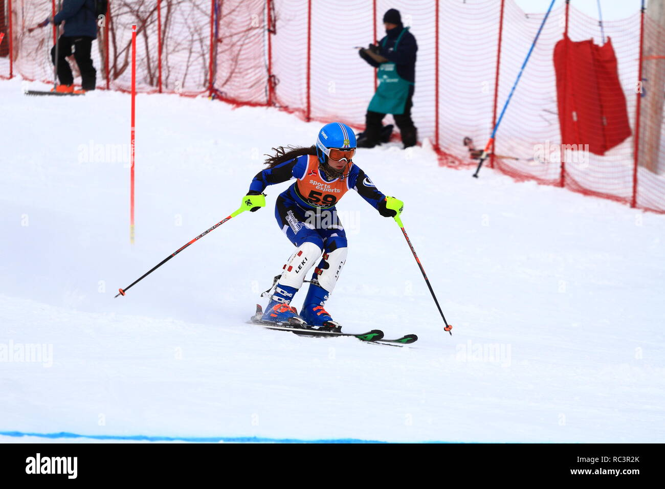 Quebec, Canada. 13th Jan 2019. Anne-Sophie Beauchemin of Canada competes in the Super Serie Sports Experts Ladies slalom race held at Val Saint-Come Credit: richard prudhomme/Alamy Live News - Stock Image