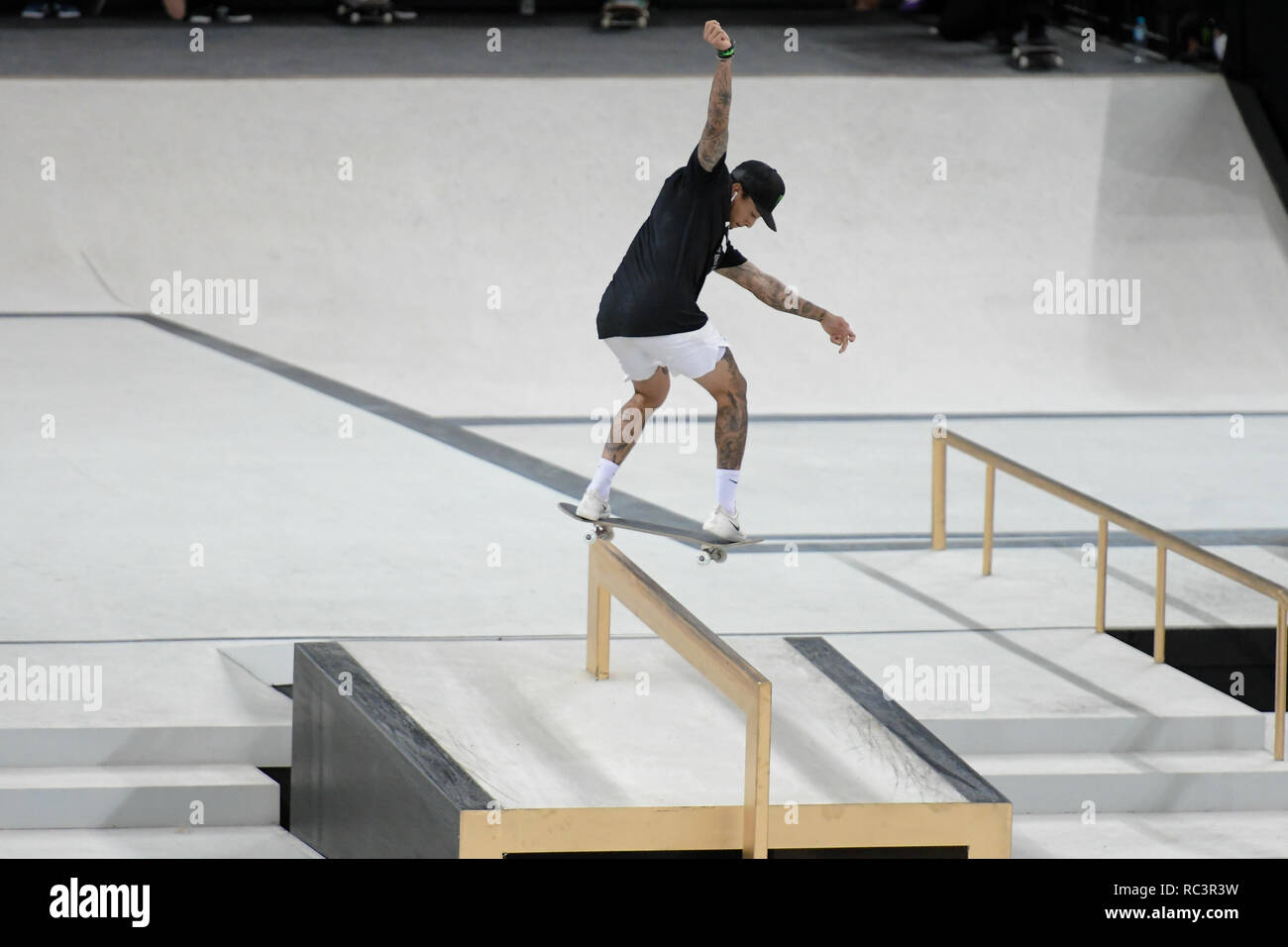RJ - Rio de Janeiro - 01/13/2019 - World Championship SLS World Championship in Rio de Janeiro - Finals - Nyjah Huston competitor performs maneuver during women's final of the Brazilian stage of the Street League World Championship, held at Arena Carioca 1, Barra da Tijuca West Zone of Rio de Janeiro. Rio receives until Sunday stage of the Street League, the largest Skateboard Street championship in the world. The sport gained importance in the national sports arena after it became an Olympic sport. Photo: Thiago Ribeiro / AGIF - Stock Image