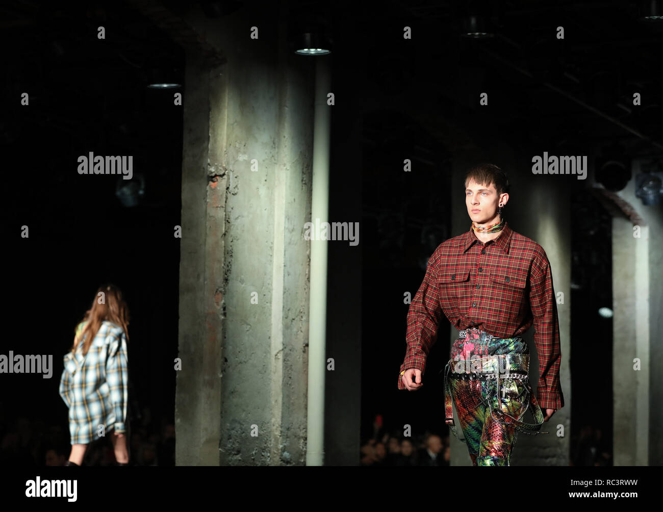 Milan, Italy. 13th Jan, 2019. Models present creations for Dsquared2 during Milan Men's Fashion Week in Milan, Italy, on Jan. 13, 2019. Credit: Cheng Tingting/Xinhua/Alamy Live News Stock Photo