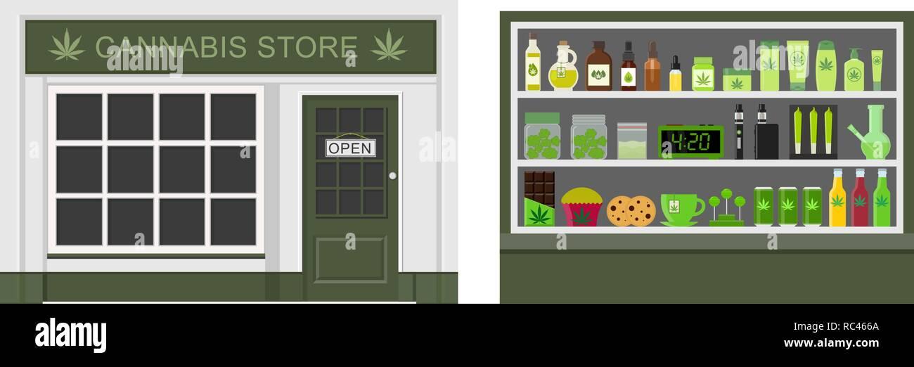 Cannabis store. Marijuana equipment and accessories for smoking, storing medical cannabis. Marijuana products. Marijuana Legalization. Isolated vector - Stock Image