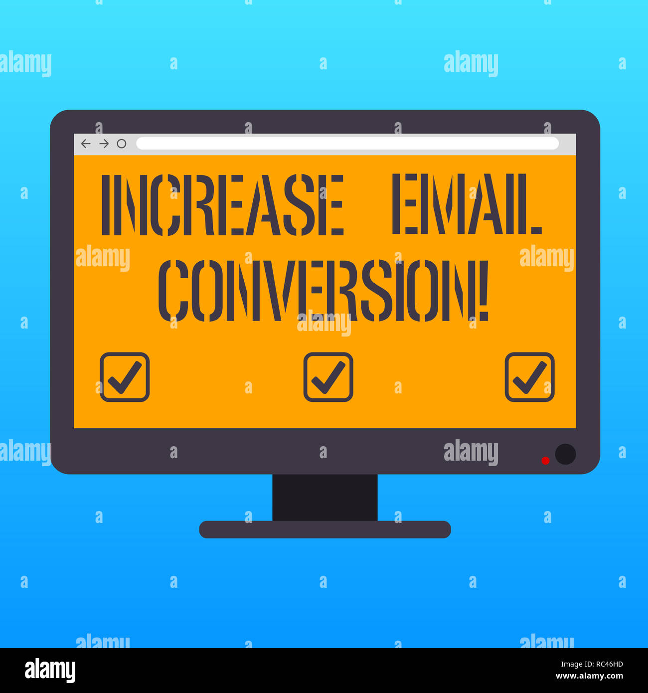 Handwriting text writing Increase Email Conversion. Concept meaning Action taking place on your landing page Blank Computer Desktop Monitor Color Scre Stock Photo
