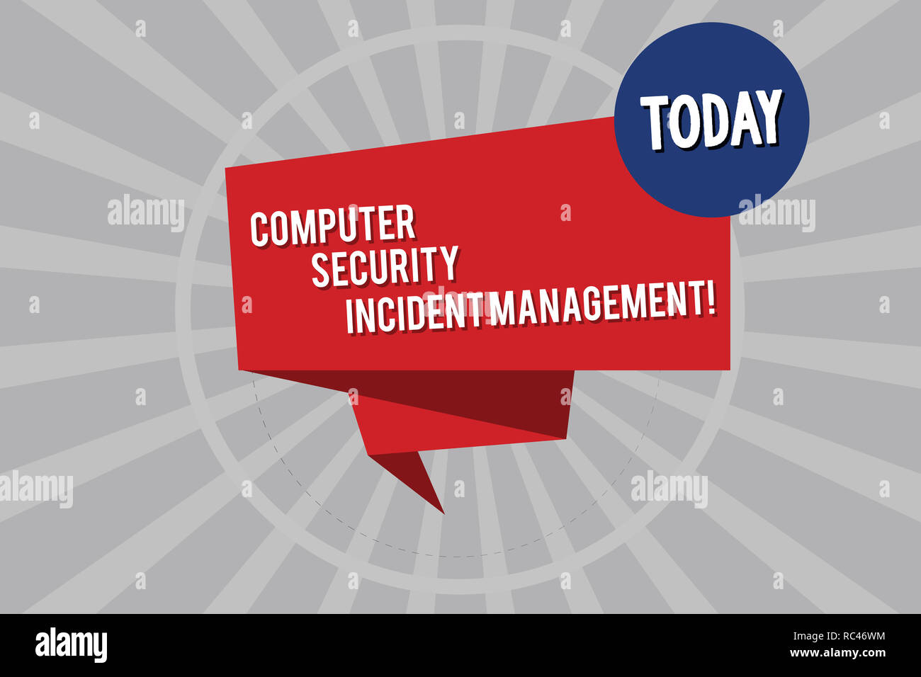 Conceptual hand writing showing Computer Security Incident Management. Business photo showcasing Safe cyber technology analysisaging Folded 3D Ribbon  - Stock Image