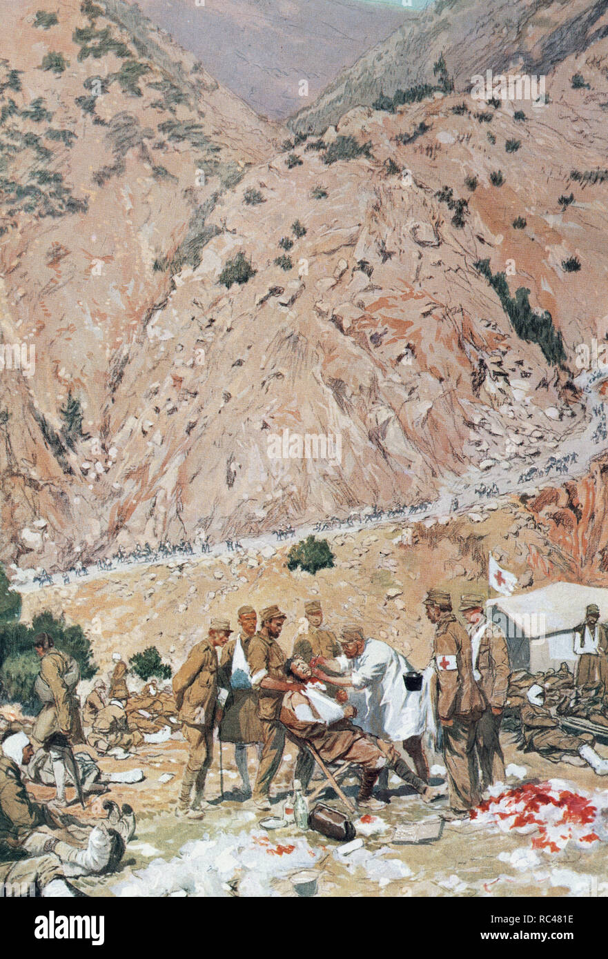 Second Balkan War, 1913. Field hospital of the Greek army at the entrance of the Kresna Gorges. Watercolor by Georges Scott, 1913. - Stock Image