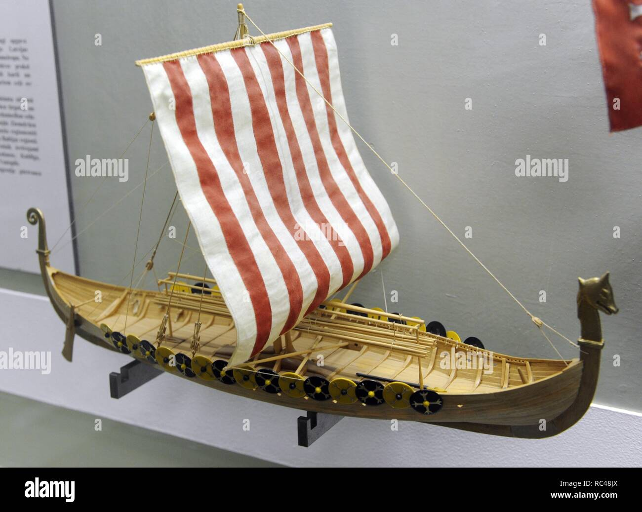 History of navigation. Middle ages. Europe. Viking ship. 9th century. Found in 1880, Norway. Model of A. Twill, 1988. Museum of History and Navigation. Riga. Latvia. - Stock Image