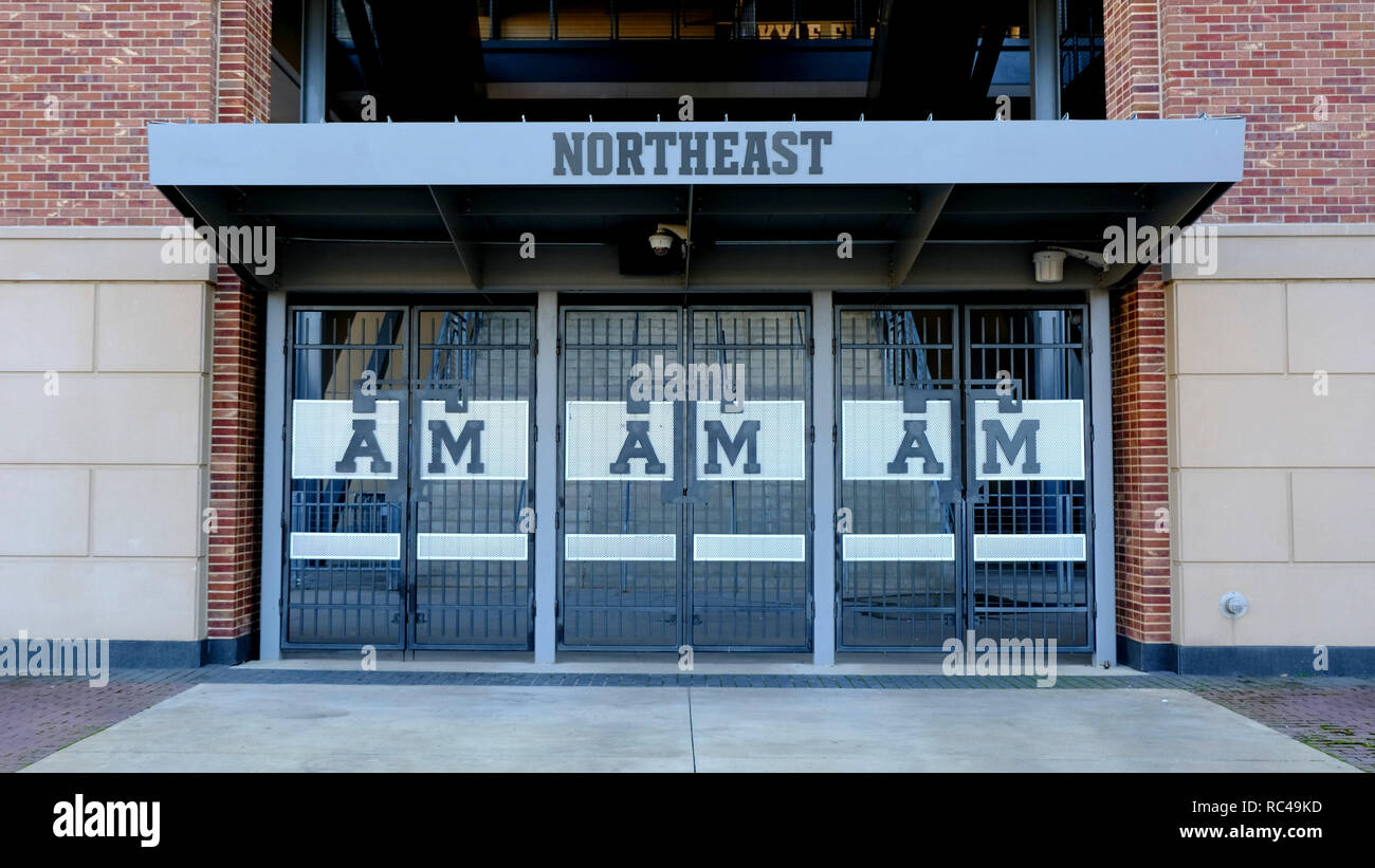 Northeast entrance to Kyle Field, American football stadium on the campus of Texas A&M University, College Station, Texas, USA. - Stock Image
