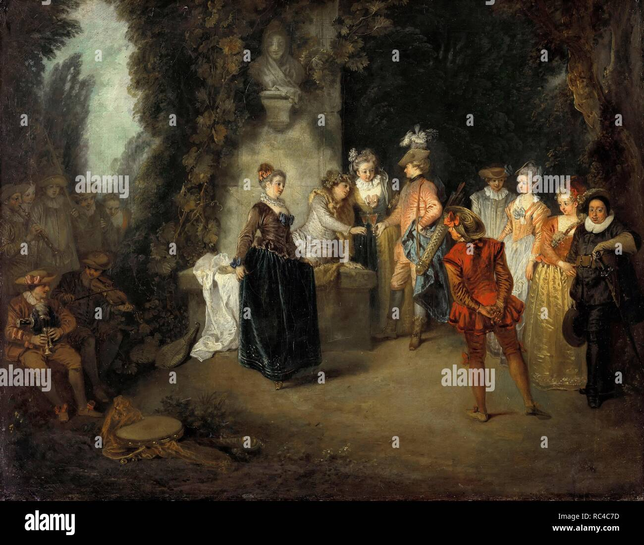The French Comedy. Museum: Staatliche Museen, Berlin. Author: Watteau, Jean Antoine. - Stock Image