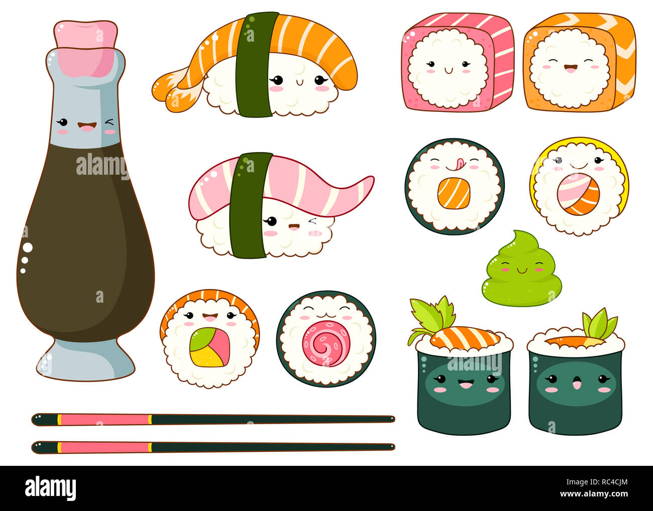 Set of cute sushi and rolls icons in kawaii style with smiling face and pink cheeks. Japanese traditional cuisine dishes. Bottle with soy souse, chops - Stock Image