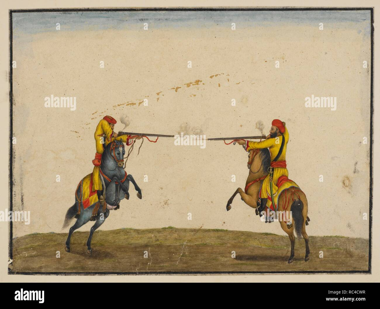 Two soldiers of Skinner's Horse skirmishing and firing at each other with blanks. Skinner Album. Delhi, 1820-1830. Watercolour. Source: Add.Or.1263. Author: Ghulam Ali Khan. - Stock Image