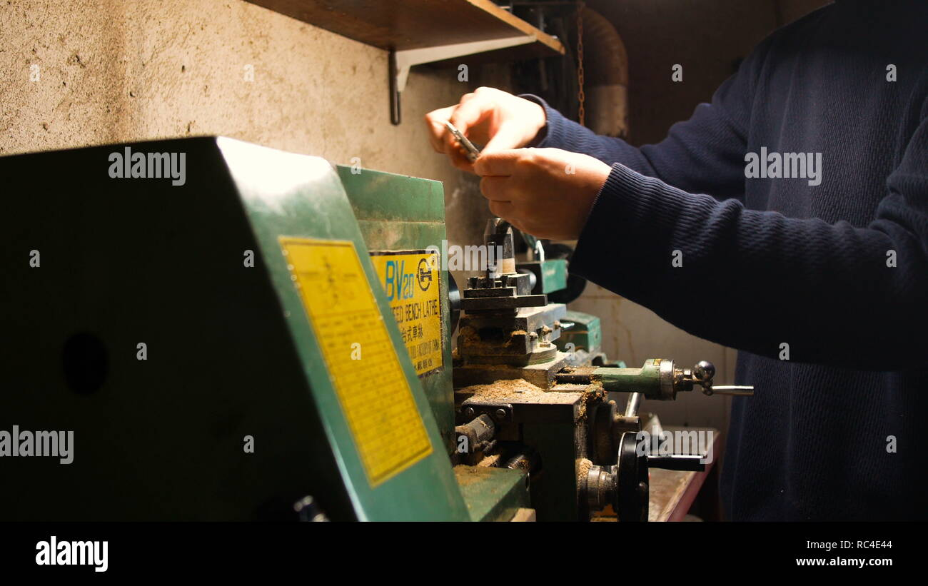 passionate DIY man, he uses the lathe for DIY, in his home