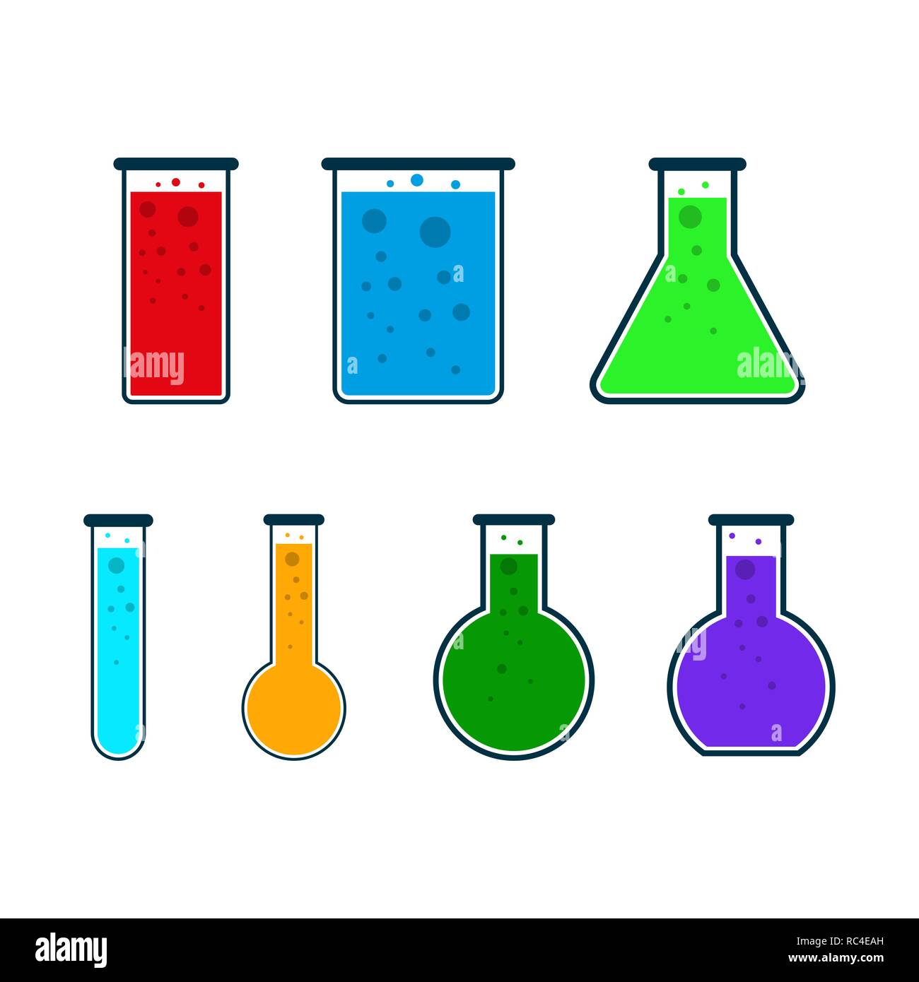 Set of test tube icons in flat design. Vector Illustration. Colored chemical laboratory flasks. Stock Vector
