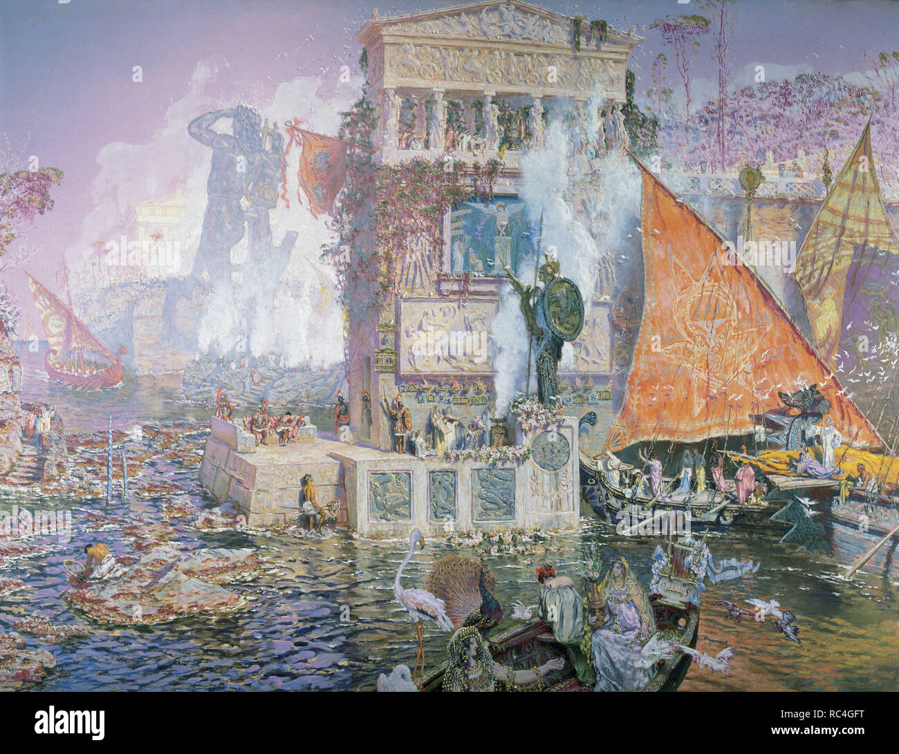 Antonio Munoz Degrain (1843-1808). Spanish painter. The Colossus of Rhodes. Royal Academy of Fine Arts of San Fernando. Madrid. Spain. - Stock Image
