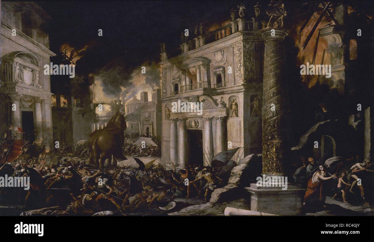 Spanish school . The fire of Troy. El incendio de Troya. Oil on canvas (145 x 197 cm). Madrid, El Prado. Author: Collantes, Francisco. Location: MUSEO DEL PRADO-PINTURA. MADRID. SPAIN. - Stock Image