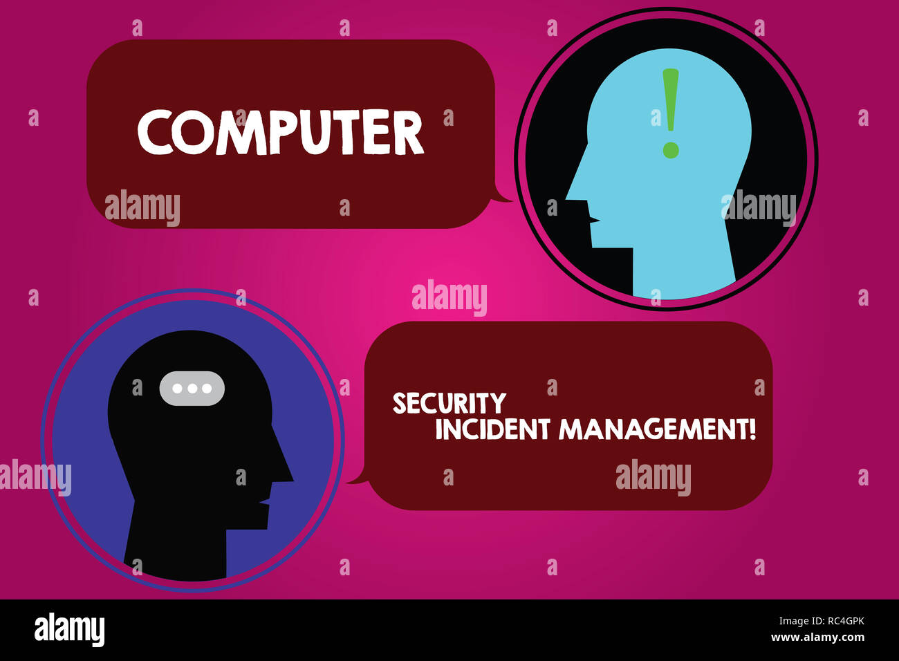 Conceptual hand writing showing Computer Security Incident Management. Business photo text Safe cyber technology analysisaging Messenger Room with Cha - Stock Image