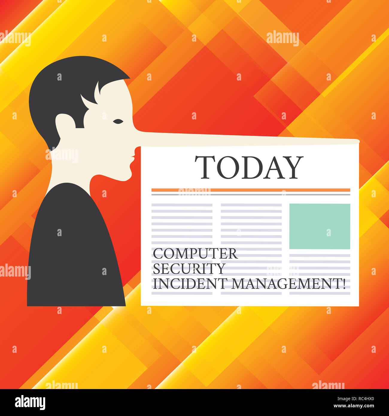 Writing note showing Computer Security Incident Management. Business photo showcasing Safe cyber technology analysisaging Man with a Very Long Nose li - Stock Image