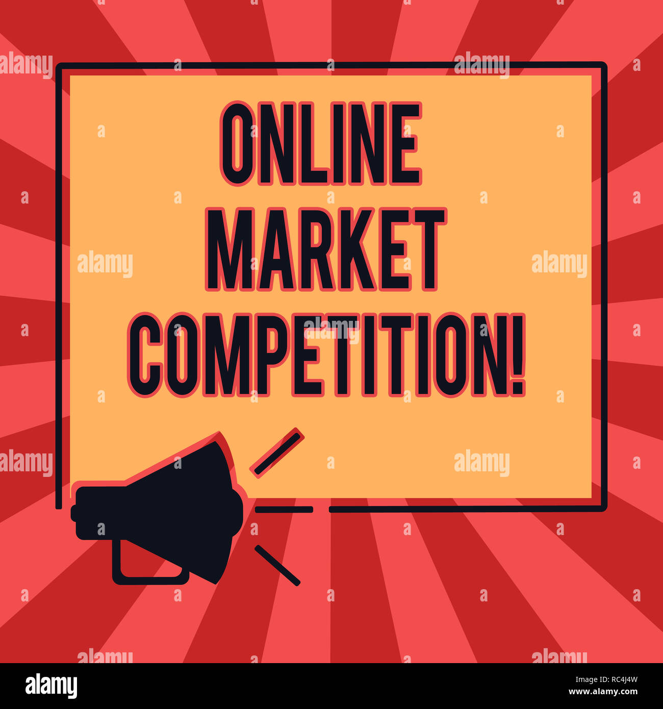 90633db395 Conceptual hand writing showing Online Market Competition. Business photo  text Rivalry between companies selling same product Megaphone Sound icon Out