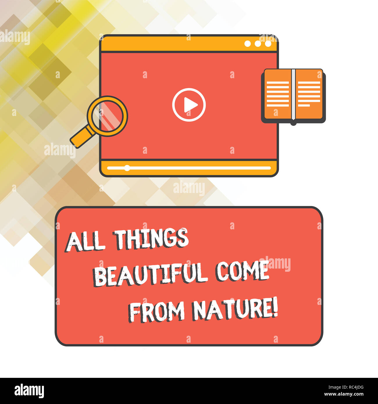 Word writing text All Things Beautiful Come From Nature. Business concept for Natural things are the prettiest Tablet Video Player Uploading Downloadi - Stock Image