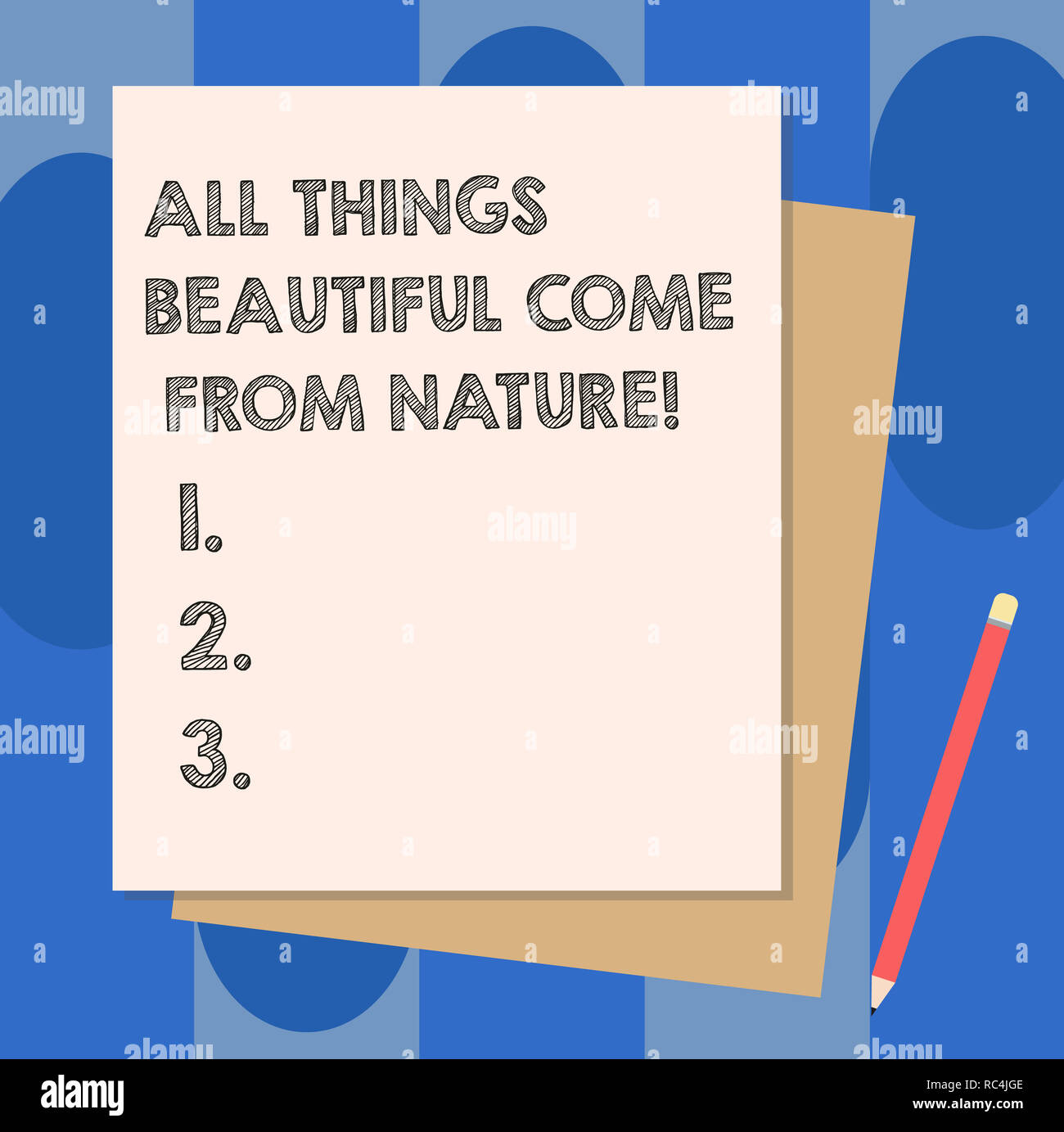 Conceptual hand writing showing All Things Beautiful Come From Nature. Business photo showcasing Natural things are the prettiest Stack of Different P - Stock Image