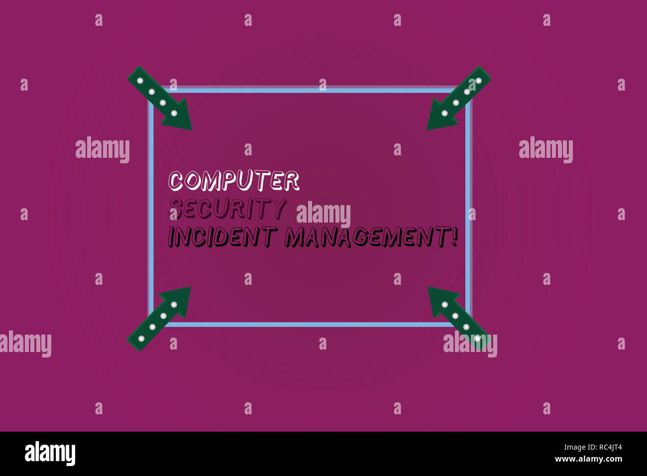 Word writing text Computer Security Incident Management. Business concept for Safe cyber technology analysisaging Square Outline with Corner Arrows Po Stock Photo