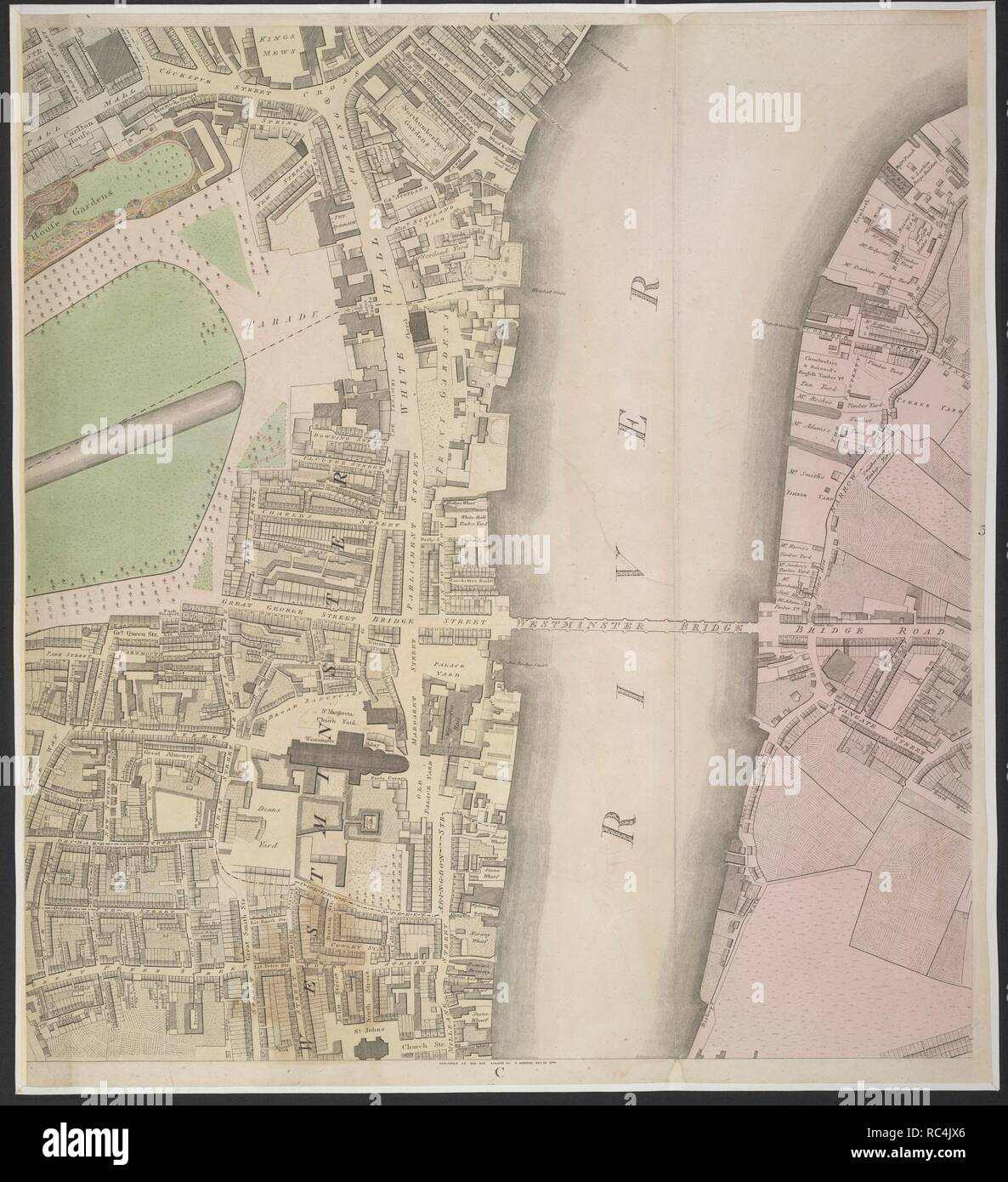 River Thames. A section of the River Thames. . Source: Maps.Crace.5.173 part 3,. Language: English. Stock Photo