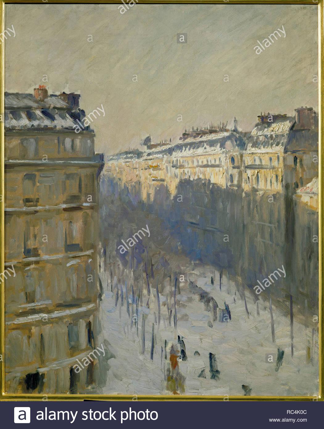 Boulevard Haussmann, effet de neige-Snow on Boulevard Haussmann, Paris, 1880 Oil on canvas, 81,5 x 65 cm. Author: CAILLEBOTTE, GUSTAVE. Location: Musee du Chateau, Flers, France. - Stock Image