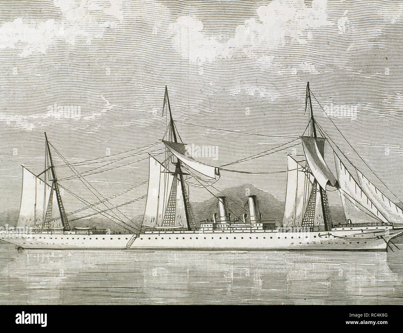 Clipper Steamship Stirling Castle. 19th century. Engraving. - Stock Image