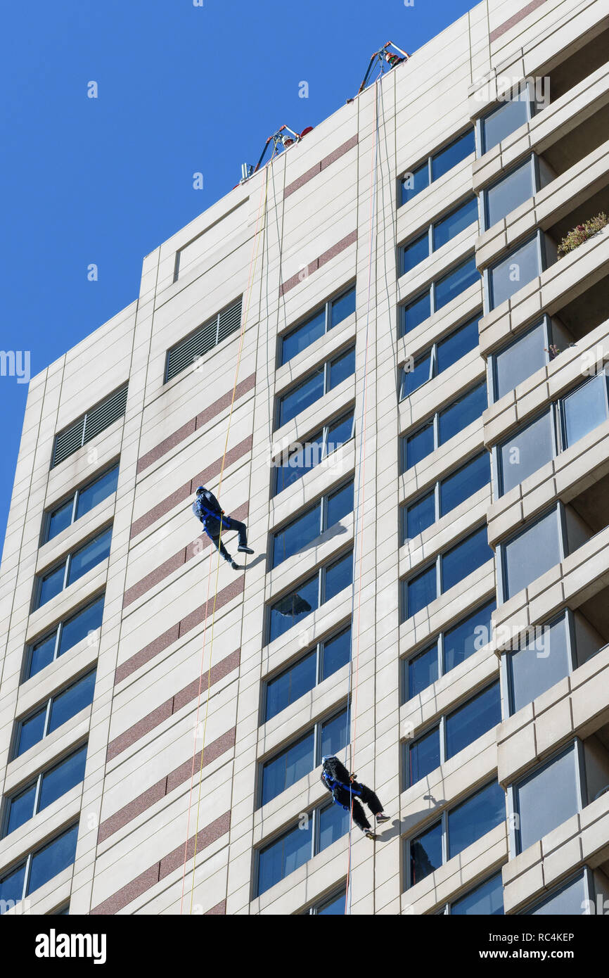 Grand Rapids, Michigan / United States - September 22, 2018:  Rappelling down Plaza Towers at Art Prize - Stock Image