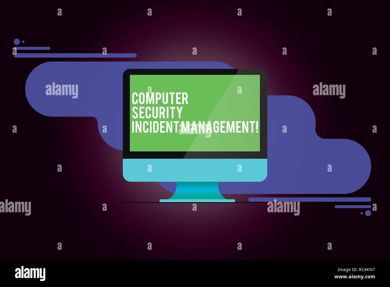 Word writing text Computer Security Incident Management. Business concept for Safe cyber technology analysisaging Mounted Computer Monitor Blank Refle - Stock Image
