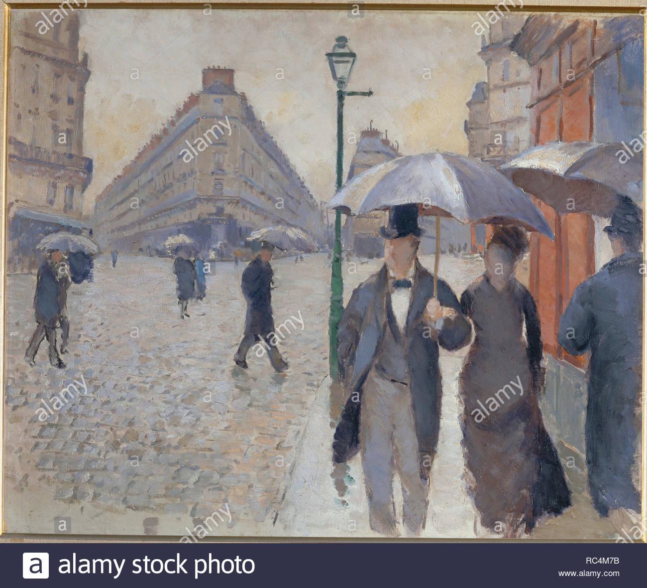 Rue de Paris; temps de pluie-Paris street; rain. 1877, oil-sketch 54 x 65 cm. Author: CAILLEBOTTE, GUSTAVE. Location: Musee Marmottan, Paris, France. - Stock Image