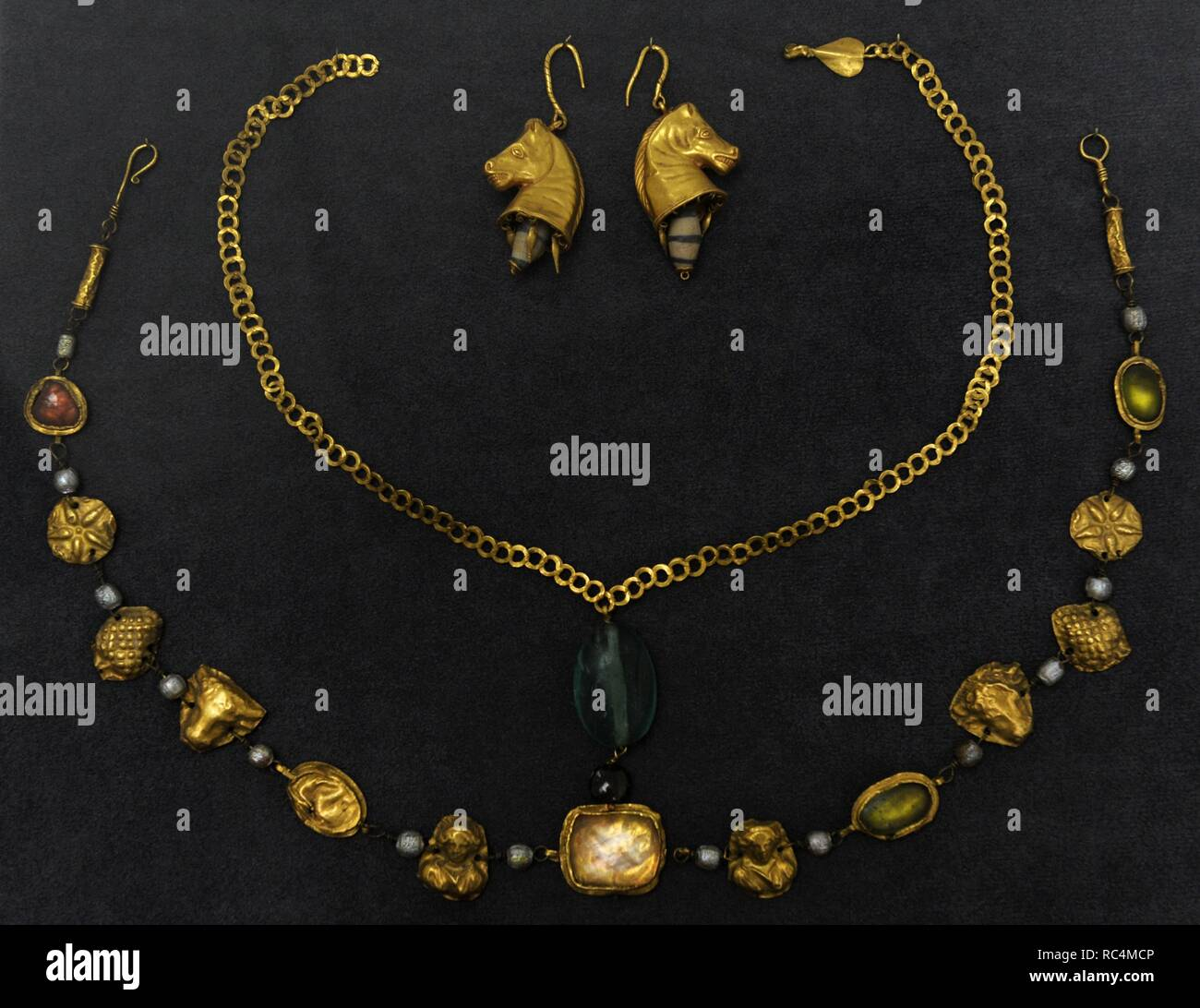 Roman jewellery of the Imperial Age. 1st-4th century AD. Museum of Fine Arts. Budapest. Hungary. Stock Photo