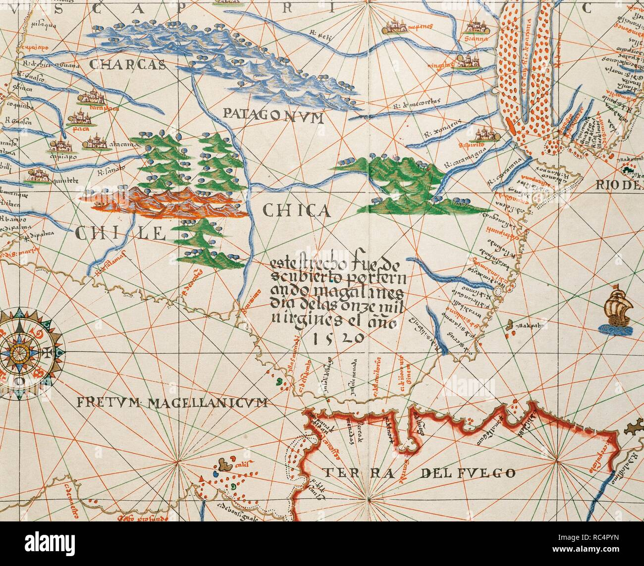 Portolan atlas of the world by Joan Martines (1556-1590). Messina, 1587. Strait of Magellan, Patagonia and Tierra de Fuego. National Library. Madrid. Spain. Stock Photo