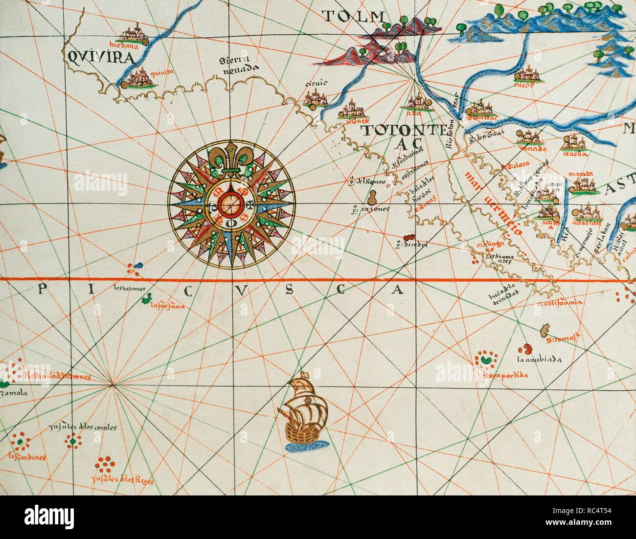 Coast of high and low california and compass rose. Nautical chart. Atlas of Joan Martines, 1587. Dedicated to Philip II. Mallorcan School. Stock Photo