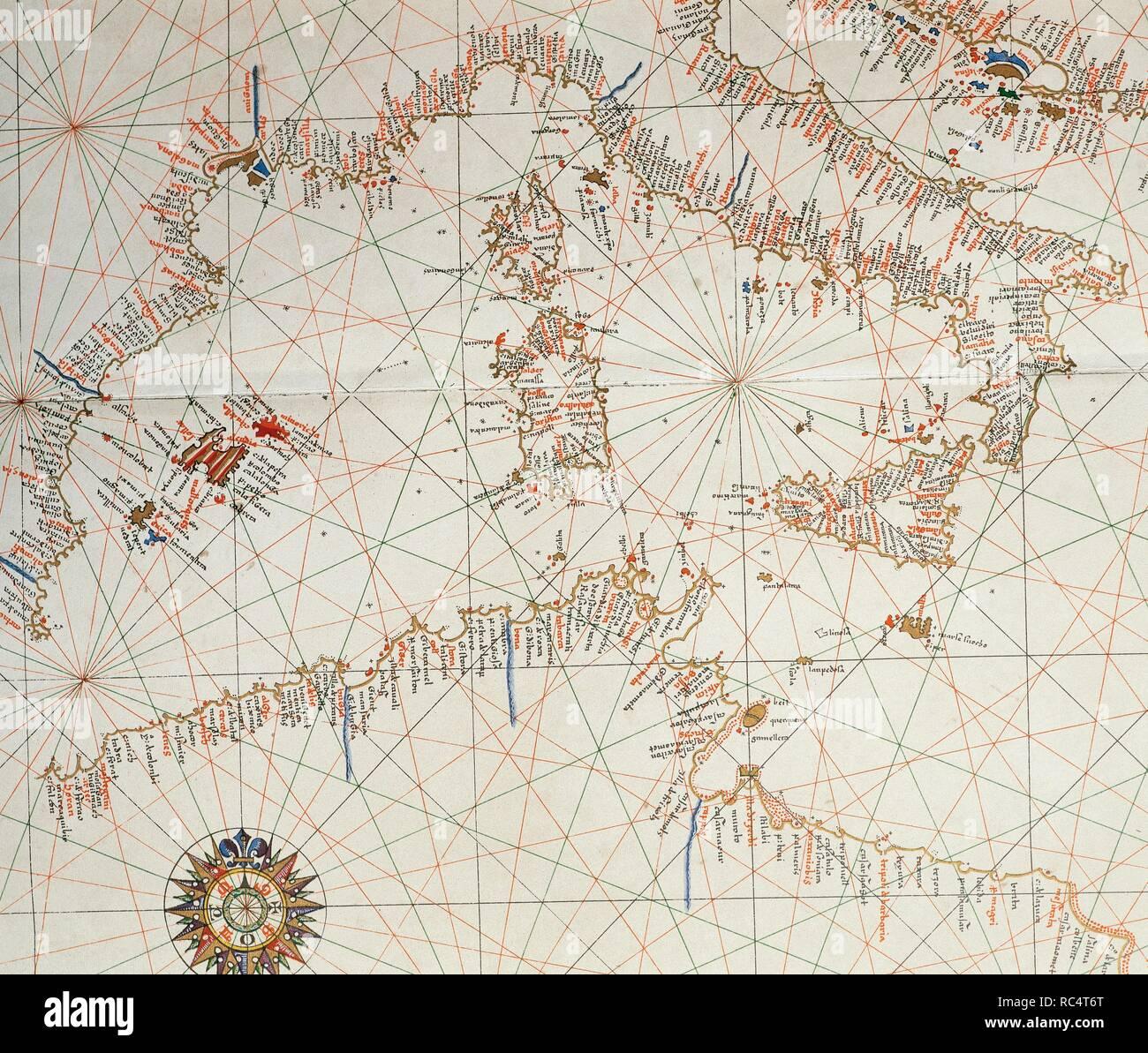 Nautical chart. Atlas of Joan Martines, 1587. Dedicated to Philip II. Mallorcan School. Detail: Western Medierranean. Stock Photo