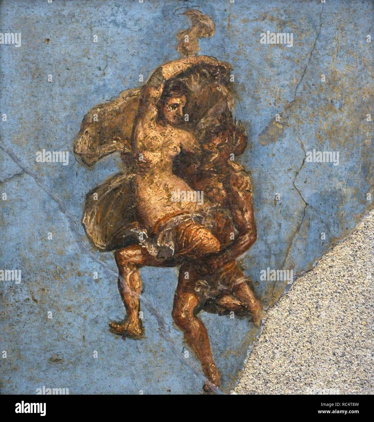 Roman fresco depicting a Satyr and a Maenad in full flight. House of the Dioscuri. Pompeii. National Archaeological Museum. Naples. Italy. Stock Photo