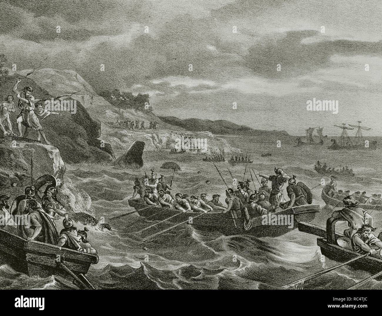 Carthaginian Iberia (575-206 B.C). Balearic Islands. Attack and conquest by the Carthaginians (247-183 B.C.). Engraving, 1871. - Stock Image