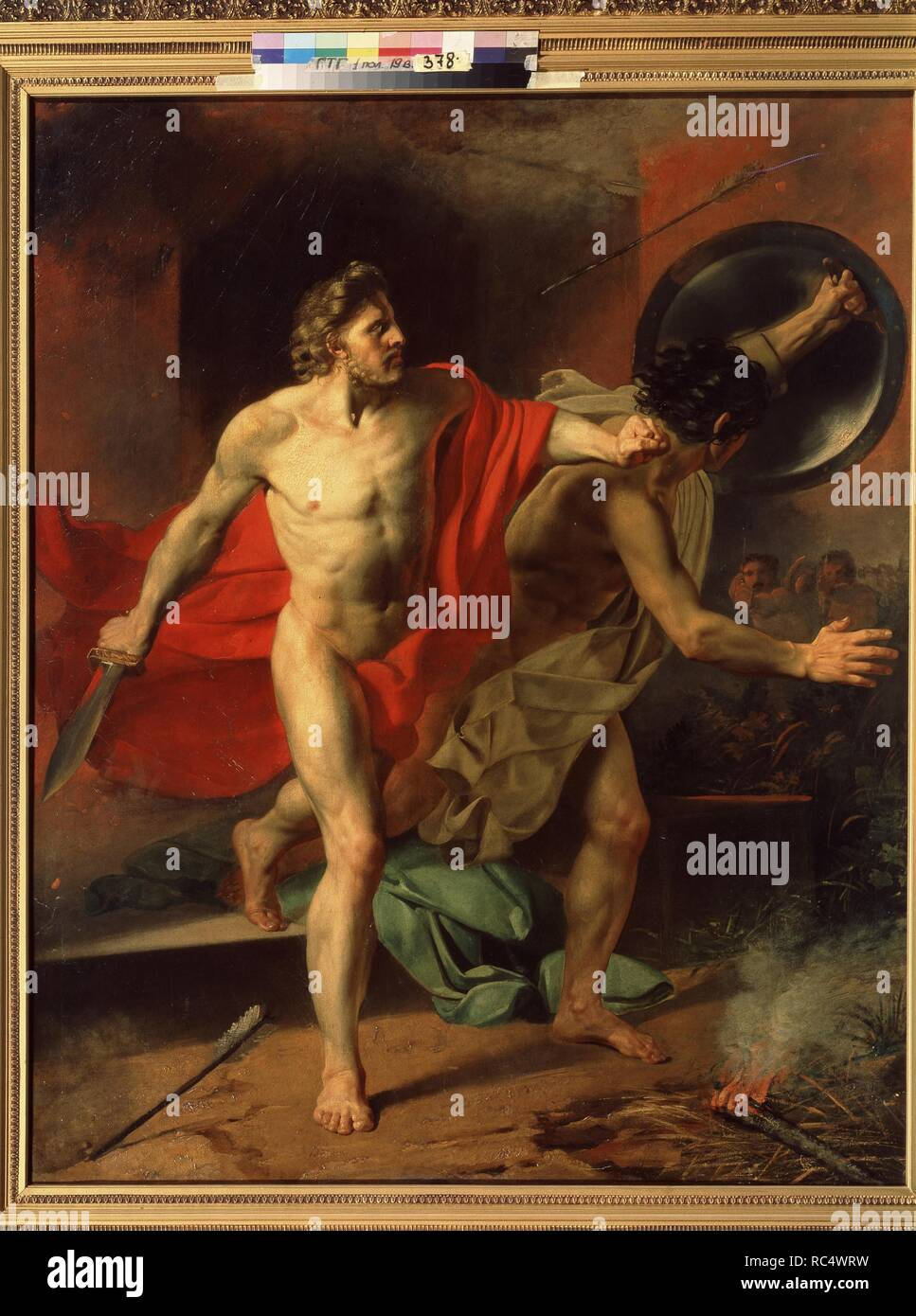 Alcibiades with his Friend are rescued from the burning House. Museum: State Tretyakov Gallery, Moscow. Author: Kapkov, Yakov Fyodorovich. Stock Photo