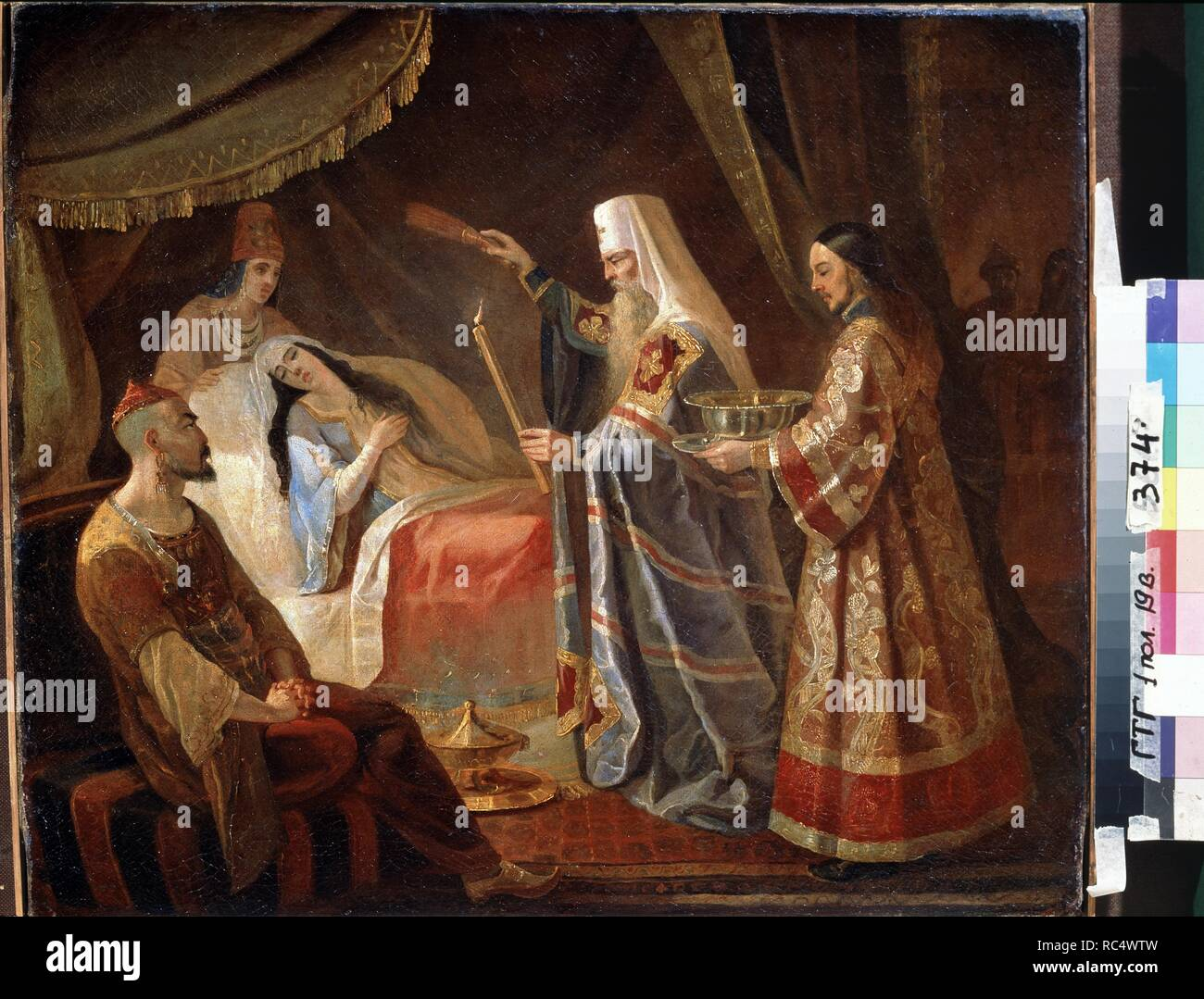 Metropolitan Alexis Healing the Tatar Queen Taidula from Blindness. Museum: State Tretyakov Gallery, Moscow. Author: Kapkov, Yakov Fyodorovich. Stock Photo