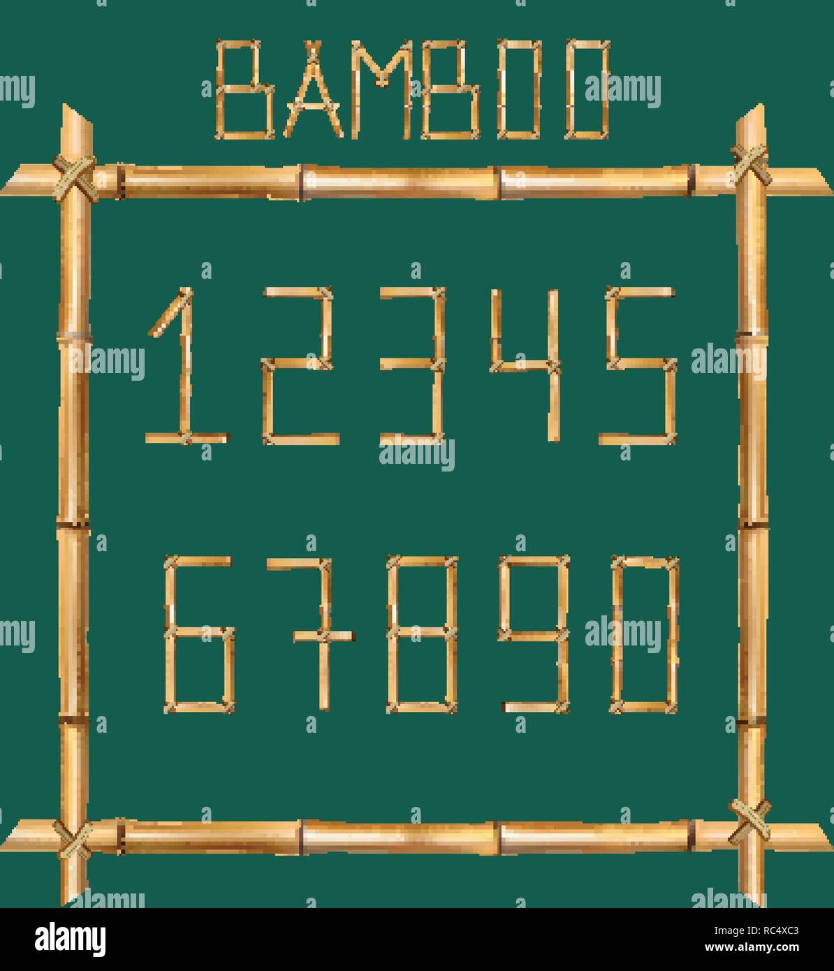 Vector bamboo numerals digits made of realistic brown dry bamboo poles inside of wooden stick frame isolated on green background. Numbers concept for  - Stock Image