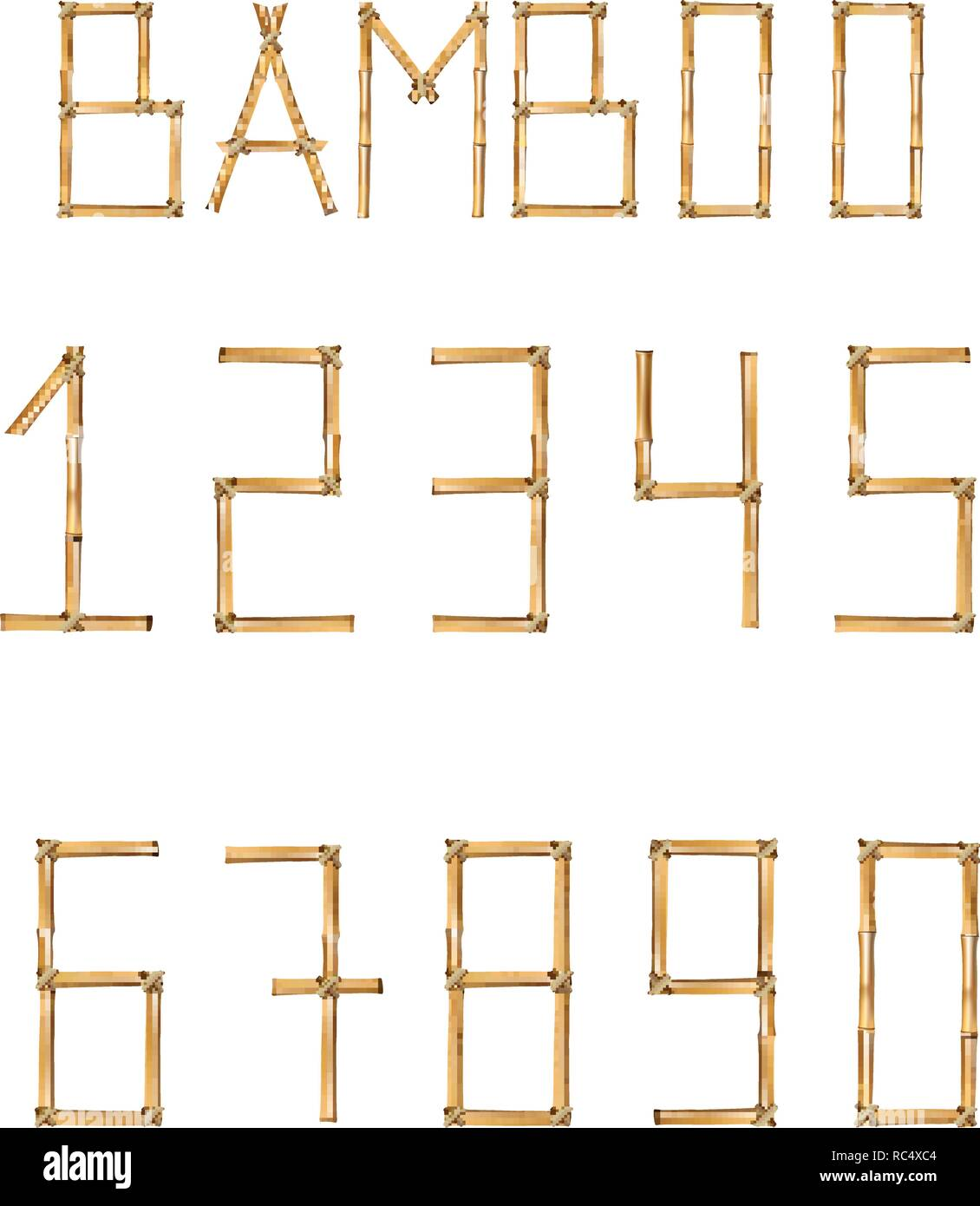 Vector bamboo numerals digits made of realistic brown dry bamboo poles isolated on white background. Numbers concept for creating words, text, adverti - Stock Image