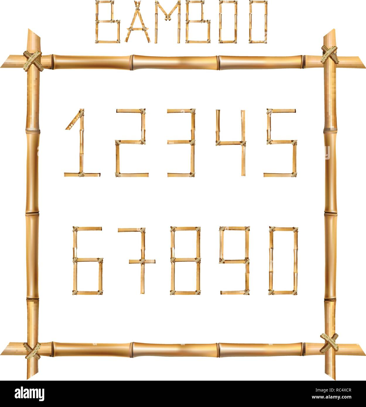 Vector bamboo numerals digits made of realistic brown dry bamboo poles inside of wooden stick frame isolated on white background. Numbers concept for  - Stock Image