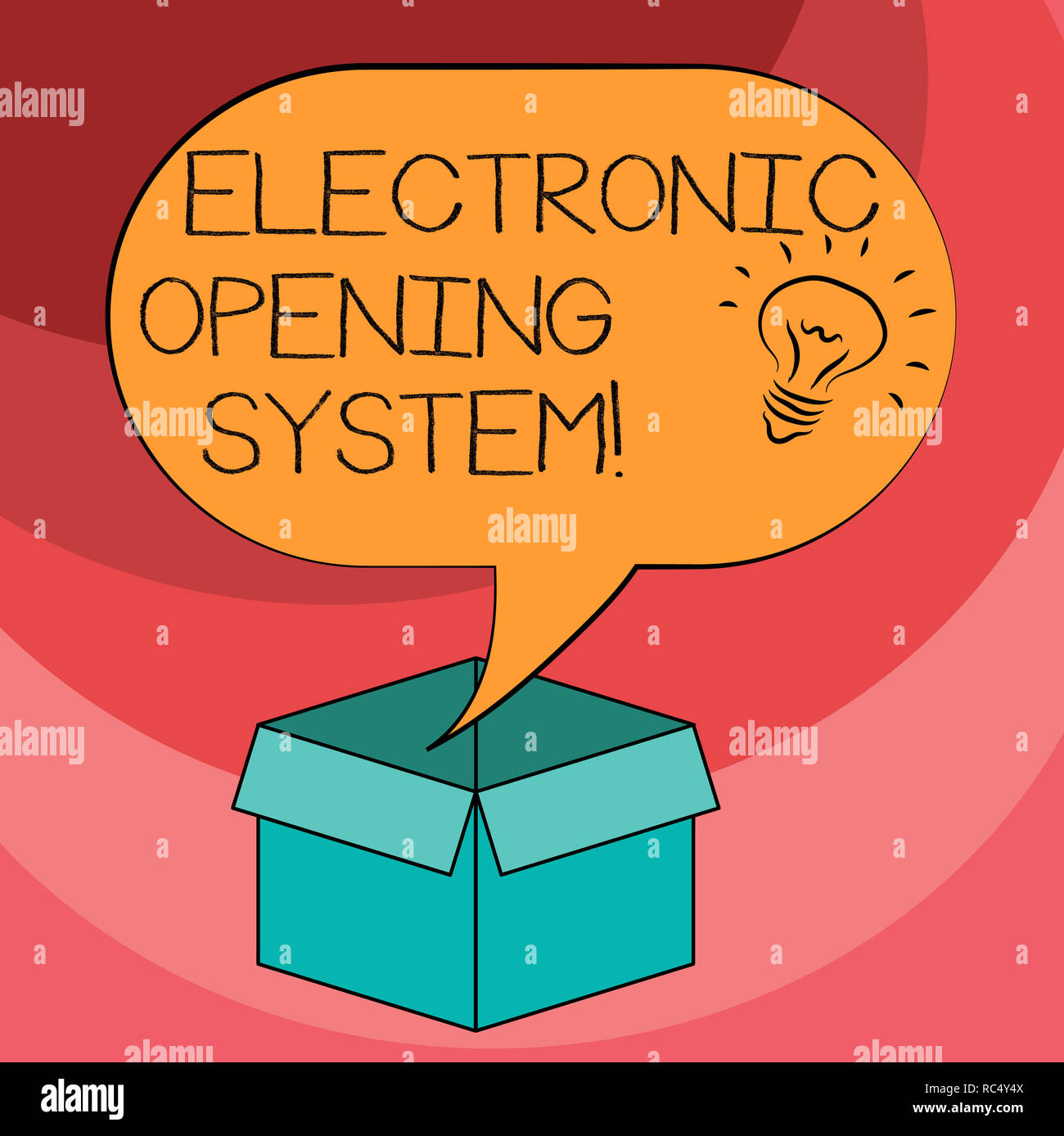 Text sign showing Electronic Opening System  Conceptual