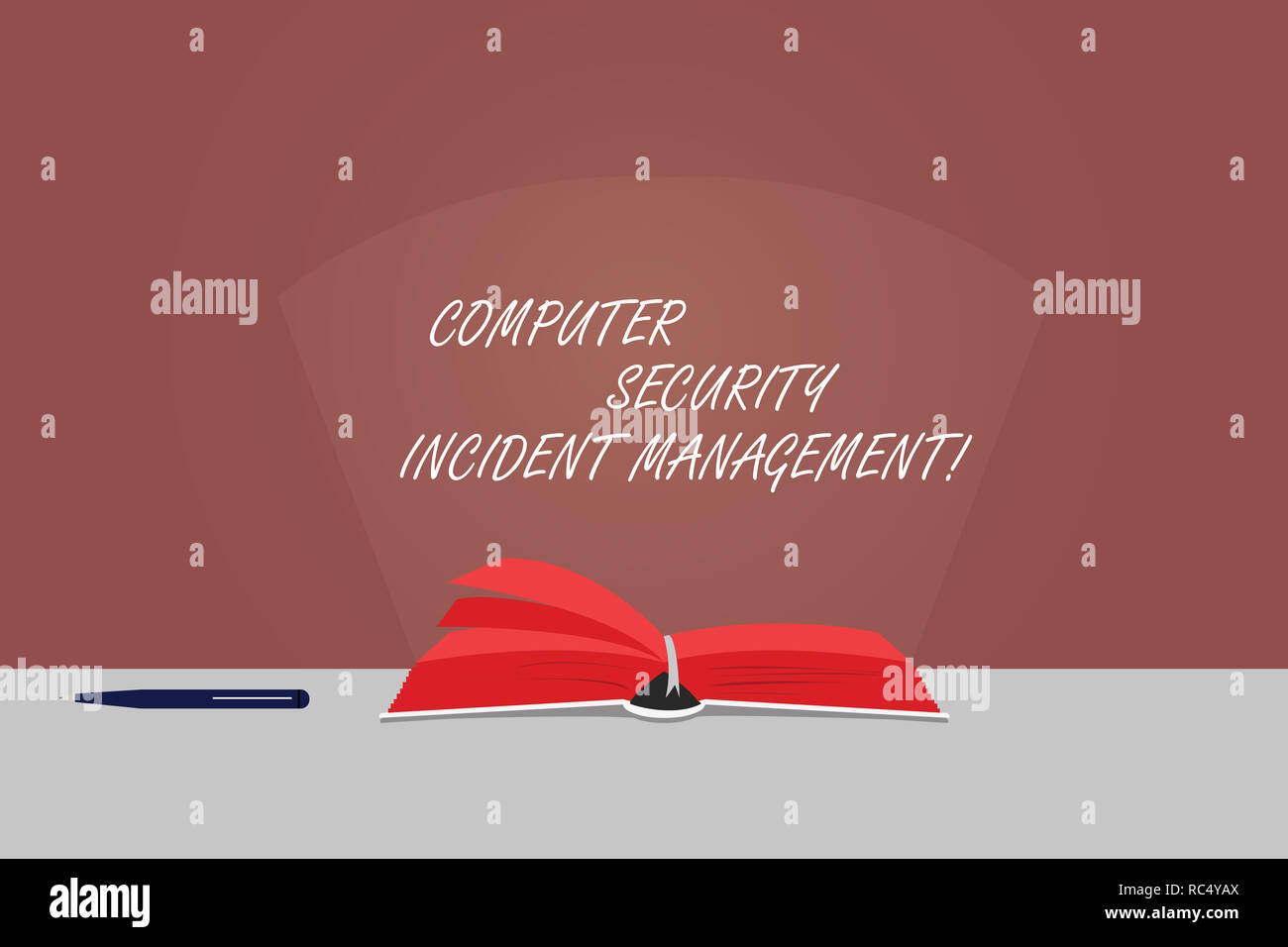 Word writing text Computer Security Incident Management. Business concept for Safe cyber technology analysisaging Color Pages of Open Book photo on Ta - Stock Image